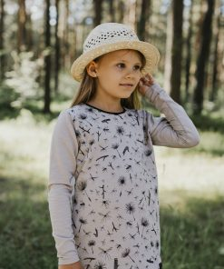 Kids long sleeve T-shirt with mosquito and dandelion print